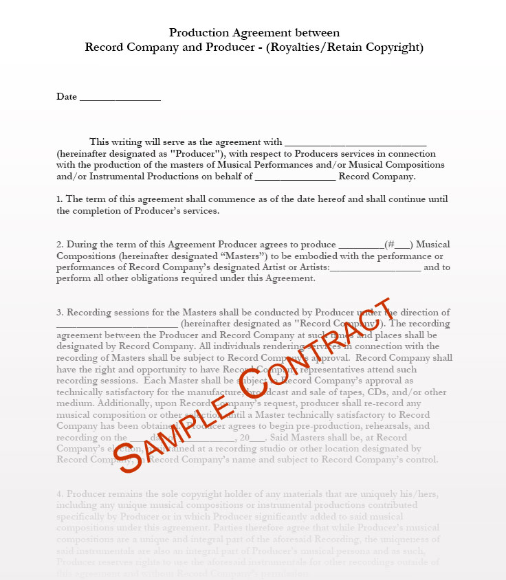 copyright contract template free - music producer contract templates music production