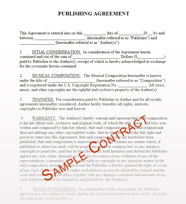 Music Publishing Contract Templates Music Publishing Contracts - Company contract sample